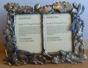 """Past Times Metal Double 2""""x3"""" Dragonfly & Lily Pad Photo Frame Art Nouveau Style"""