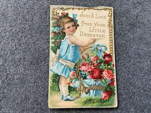 Just a line from your little daughter Vintage Postcard - Card damaged