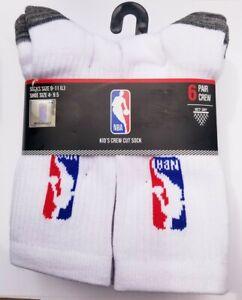 NBA Boys Crew Socks Net Dry Logo Basketball Athlete 6 Pack White Shoe Size 4-9.5