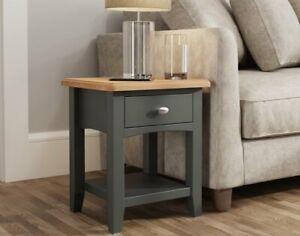 Oak City - Oakland Painted Grey Oak 1 Drawer Lamp Table