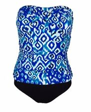 Beach Diva One Piece Bathing Suit Ruched Bandeau Blue Printed Swimsuit Sz 12