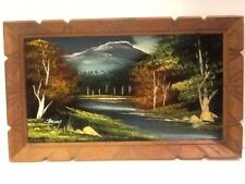 "Vintage Black Velvet Painting - Landscape Mountains Trees River - 22""x13"""