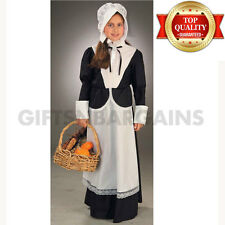 Pilgrim Colonial Girl Costume Thanksgiving Victorian Maid Historical Pioneer  L