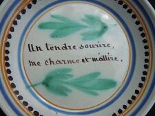 Assiette faïence Nevers Malicorne décor proverbe d'amour époque 19ème