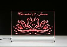 Geschenk Liebesschild Schwanenherz + Namen LED Leuchtschild Valentinstag