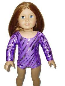 "Purple Hologram Stripes Leotard 18"" doll clothes fits American Girl Gymnastics"