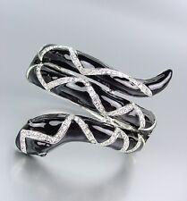 CHIC Black Lacquer Enamel CZ Crystals Snake Hinged Bangle Bracelet