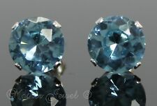 8mm SOLID 925 STERLING SILVER Round Aqua Ice Blue CZ Stud Ladies Mens Earrings