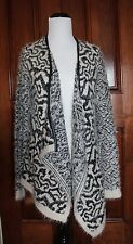 Sweater COZY CHIC NORDSTROM black cream HIGH LOW OPEN CARDIGAN WRAP Small