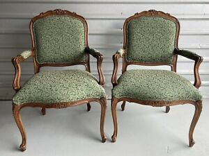 ETHAN ALLEN Upholstered Duvall French Bergere Chairs, 13-7118, Set of 2