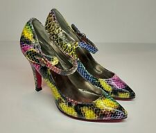 Women's Bucco Stiletto Heels Rainbow Yellow/Blue/Black/Pink Snakeskin Size 6