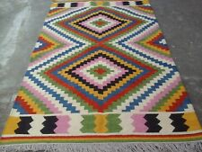 Tribal Afghan Anatolian Turkish Kilim Rug Colorful Rug 5x8 Oriental Area Rug