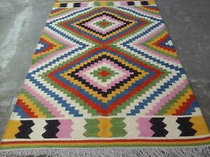 Tribal Afghan Anatolian Turkish Kilim Rug Colorful Rug 5x8 Oriental Area Rug