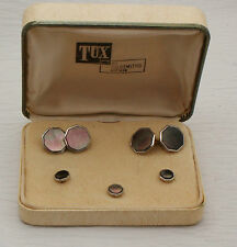 TUX Correct Cufflinks and Buttons in Original Box Mother Of Pearl