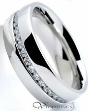 Mens Stainless Steel Wedding Band Eternity CZ Ring Men's 7MM - Size 9.5