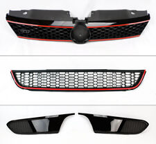 Black & Red Honeycomb Front Upper Lower Grill for VW Jetta 4dr Sedan MK6 11-14