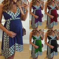 Women Maternity Pregnant Nursing Summer Sexy Stripe V Neck Vest Sleeveless Dress
