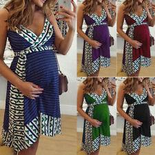 Women Pregnancy Nursing Striped Print V Neck Sleeveless Dress Maternity Clothes