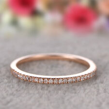 925 Silver Stackable Eternity Rose Gold Plated Wedding Promise Rings Size 4-10