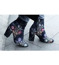 NWT ZARA EMBROIDERED DETAIL ANKLE BOOTS BLUE US 6/ UK 3/ EUR 36 REF. 2107/201