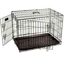 Pet Cage Dog Crate Cat Carrier Kitten Puppy Metal Folding Transport Tray Trainer