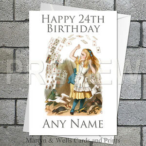 Alice in Wonderland personalised birthday card. 5x7 inches. Shower of Cards.
