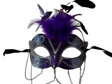 Purple Silver w Chains Venetian Masquerade Mask Feathers Small