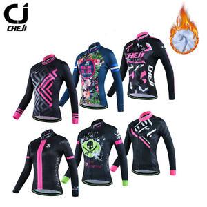 CHEJI Thermal Winter Cycling Jersey Women's Long Sleeve Fleece Cycling Jacket