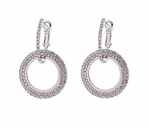 Double Dangle CZ Hoop Earrings Rhinestone Dangle Drop Silver plated