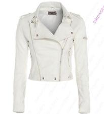 Size 8 10 12 NEW Womens BIKER JACKET Crop FAUX LEATHER Ladies ZIP White Coat