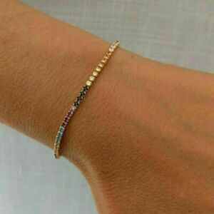 14K Yellow Gold Finish Rainbow Multi Color Dainty Tennis Bracelet For Women's