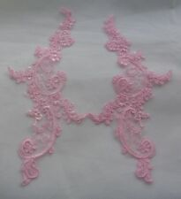 A pair baby pink floral collar lace appliques baby pink tulle lace motifs