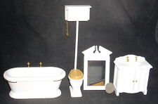 Mini White Old Fashioned Bath Set 4 1:12 #T5305 Tub Toilet Sink Tub Bathroom
