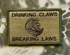 VELCRO® BRAND HOOK Fastener Drinking Claws & Breaking Laws Multitan Patches 3x2""