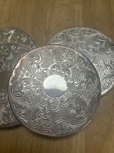 Silver Plated Vintage Coasters - Set Of 4