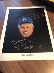 1982 Union 76 Volpe Printe Tommy Lasorda Autograph
