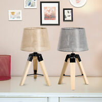 Modern Table Lamp Tripod Wooden Lampshade for Bedroom Bedside Décor 2 Colors