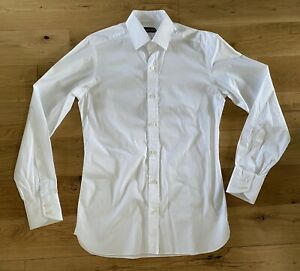 "Tom Ford Mens White Cotton Shirt 15.5"" 39 7FT000 Button Cuffs 100% Cotton"