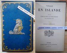 Rare cartonnage RELIURE LICORNE & Oiseaux fabuleux VOYAGE EN ISLANDE 1890 Mame