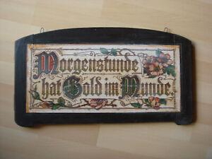 """altes Holzbild mit Spruch """"Morgenstunde hat Gold im Munde"""" 53 x 28,3 cm"""
