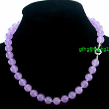 """FASHION 8MM NATURAL LAVENDER JADE ROUND GEMSTONE BEADS NECKLACE 18"""" AAA+"""