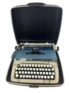 Galaxie Deluxe Smith Corona Typewriter Vintage Portable Hard Case Works SMC Blue