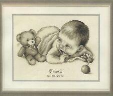 Stickpackung Stickbild 28x24 Baby Geburt Junge Mädchen Bär Teddy Bärchen Kit