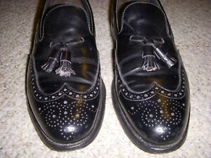 FOOTJOY Classic Mens Black Leather Slip On Dress Shoes Made In USA sz 10.5