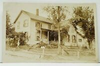 RPPC Residence Home Family & Dog on Porch Man Horse Real Photo Postcard J5