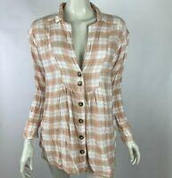 Free people Plaid Shirt Button Up Long Sleeve Wool Blend Top Blouse Women Medium