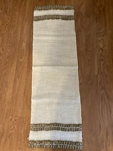 """Handcrafted Burlap Table Runner Lace Trim 14"""" x 48"""" New Wedding Hessian Shabby"""