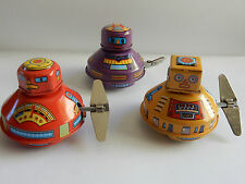 MINI UFO TIN ROBOT WIND UP NEW REPLICA OF YESTERYEARS TOY