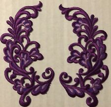 Floral Scroll Patches Iron On Purple Lot 2
