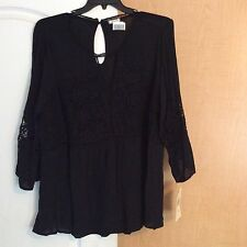 New Eyeshadow - Black With Crochet Lace Front/Sleeve Women Plus Size 1X